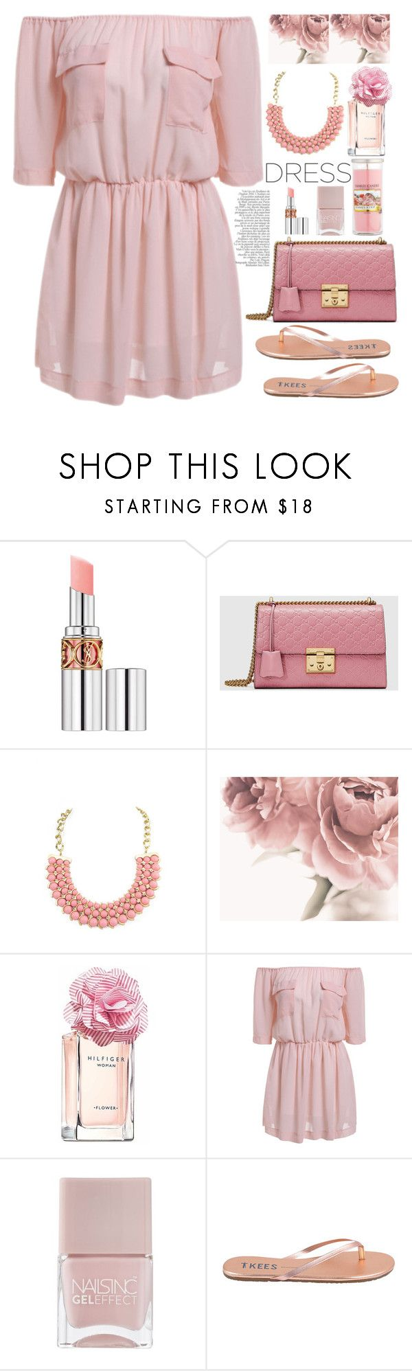 """""""romantic dress"""" by licethfashion ❤ liked on Polyvore featuring Yves Saint Laurent, Gucci, Emi Jewellery, Tommy Hilfiger, Nails Inc., Tkees, Yankee Candle, polyvoreditorial and licethfashion"""