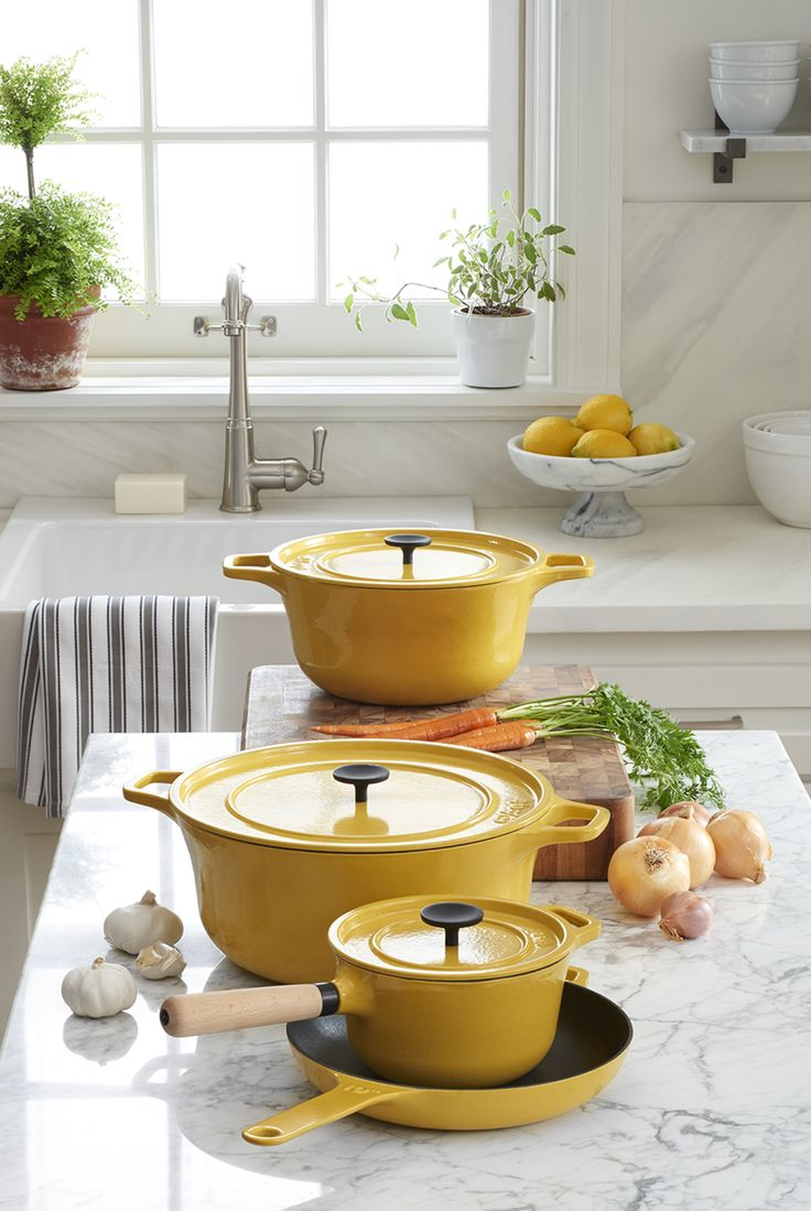 London designer Russell Pinch celebrates sculptural simplicity in all of his work, including this finely crafted cookware with a timeless take on kitchen tradition. An appealing shape with comfortable, mitt-friendly integrated handles and a smooth, generous cooking surface makes the most of cast iron's fine qualities, with a durable and beautiful enamel finish in warm hollandaise yellow with a creamy interior.