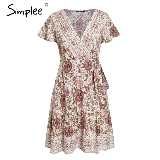 Bohemian Floral Mini Women Summer Dress Festa V Neck Ruffle Bandage Dress Holiday Beach Sundress