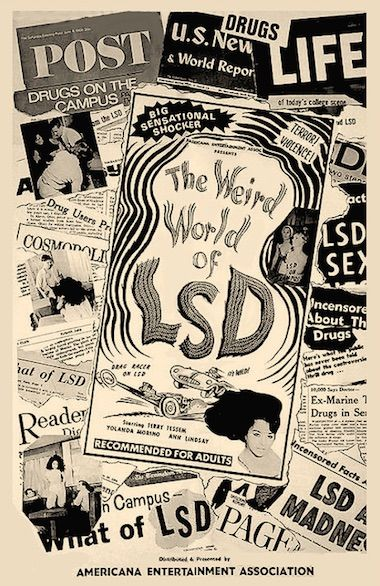 THE WEIRD WORLD OF LSD 1967 features several vignettes that show the kind of people who take LSD and how they behave under its influence. First up a teenage boy takes a dose, lies on a couch and hallucinates a cartoon chicken! As he gets more into it, he begins to flap his wings—err, arms and his eyes roll around in his head. If he'd followed rule #1 of acid: light a drip candle and play an album of sitar music, he would have been fine. On DVD.