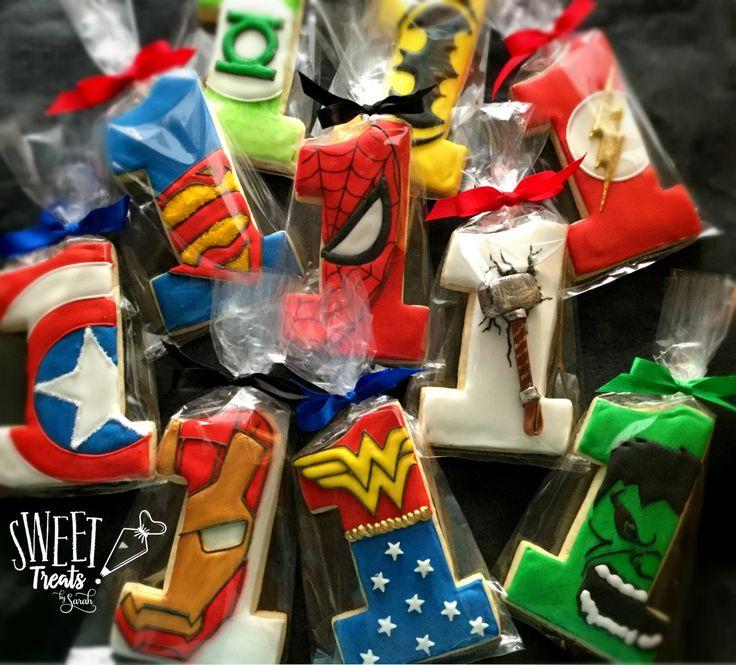 Superhero Birthday Cookies #1stbirthday #superheroparty #hulk #thor #Spiderman #batman #superman #dc #marvelcomics