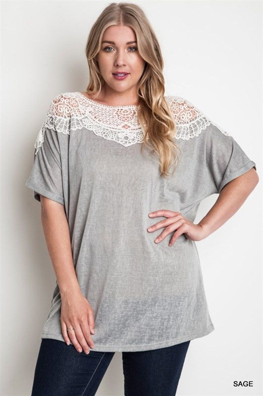 Plus Size Heather Gray Top With Crochet Lace - Plus size boutique clothing at rustic honey