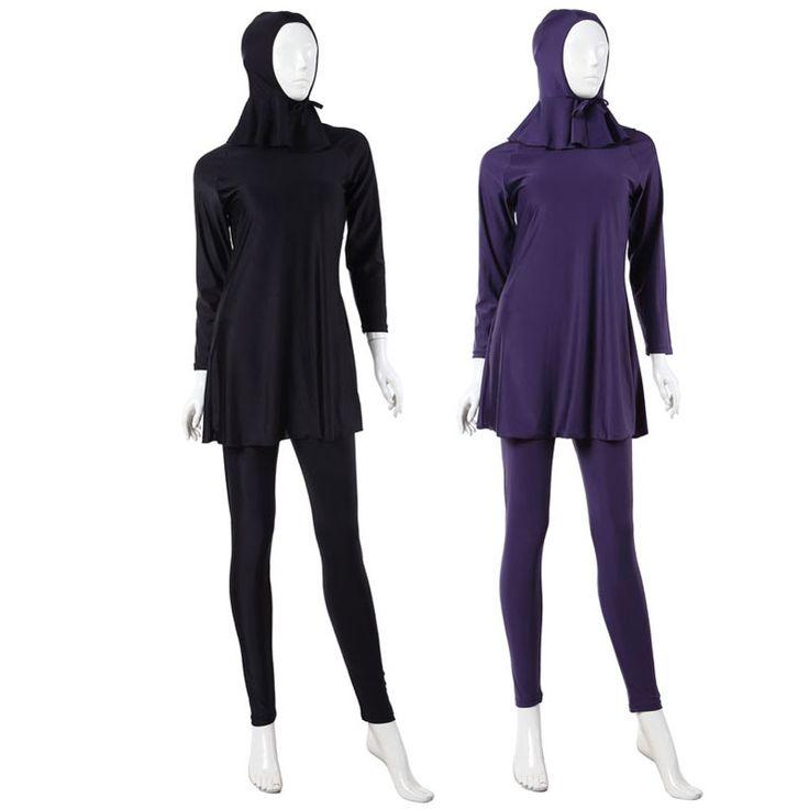 New 3Pcs Lady Muslim Full Cover Swimsuit Women Hood+Long Sleeve Top+ Pant Islamic Swimwear Plus Size XS-XXXL