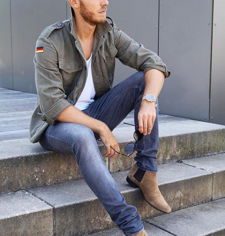 #military green jacket slim fit jeans and #chelseaboots by @berndhower  [ http://ift.tt/1f8LY65 ]