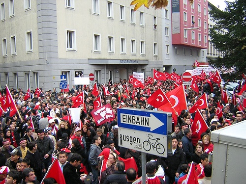 Turkish fans after a football game in Ottakring (16th d.), one of the most multicultural immigrant environments in Vienna.