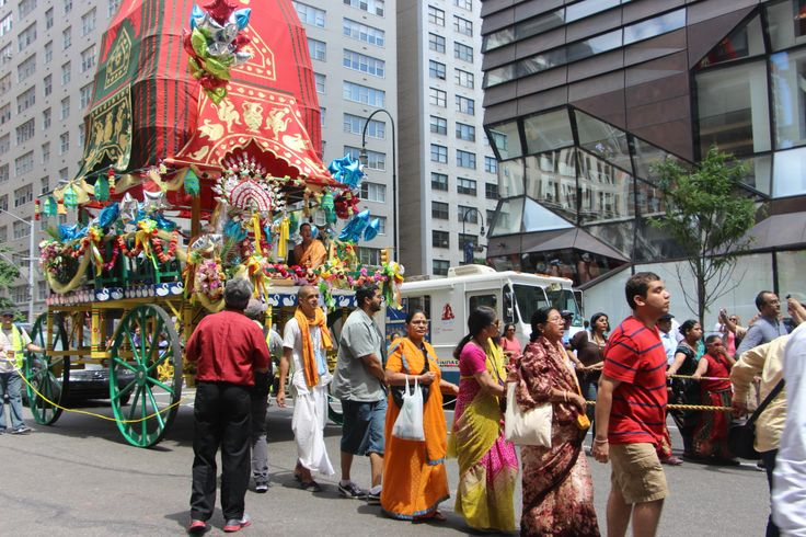 """The POWER of LOVE & COMMUNITY! Mesmerized by the chanting, love and beauty. No motors, the people gathered together and pulled these """"floats"""" through the streets of this Hare Krishna Festival. So moving."""