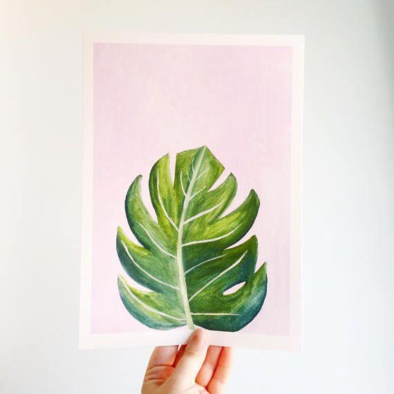 Monstera Plant Print – Art Print – Plant Lady Print – Indoor Plant Print – Monstera Plant – Tropical Plant Print – Green on Pink Print