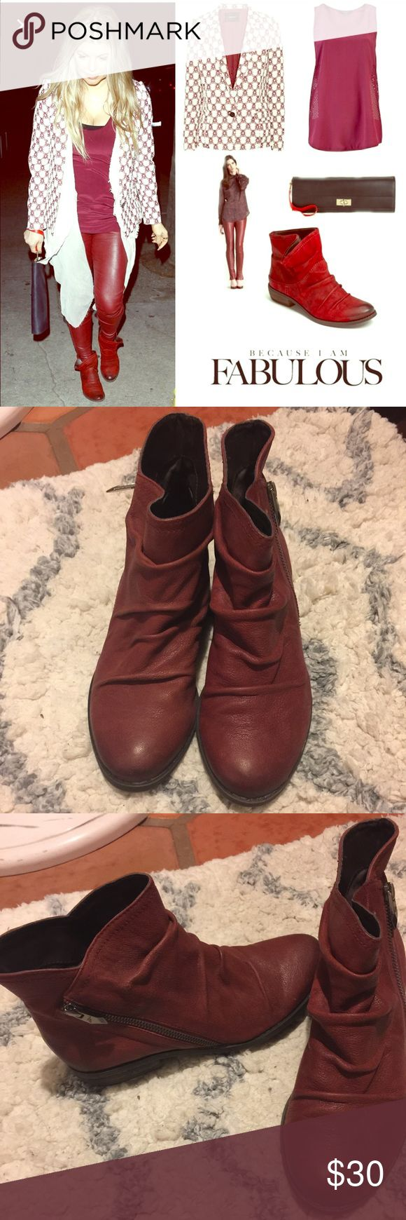 Fergie booties Fergie burgundy booties. Worn once. In great condition. Fergie Shoes Ankle Boots & Booties