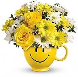 This is a best birthday gift For Every one who like to smile.  When you're looking to make someone smile, this happy #face_mug of roses and daisies is tops. Sure to cheer up everyone from a beloved wife to a busy boss.
