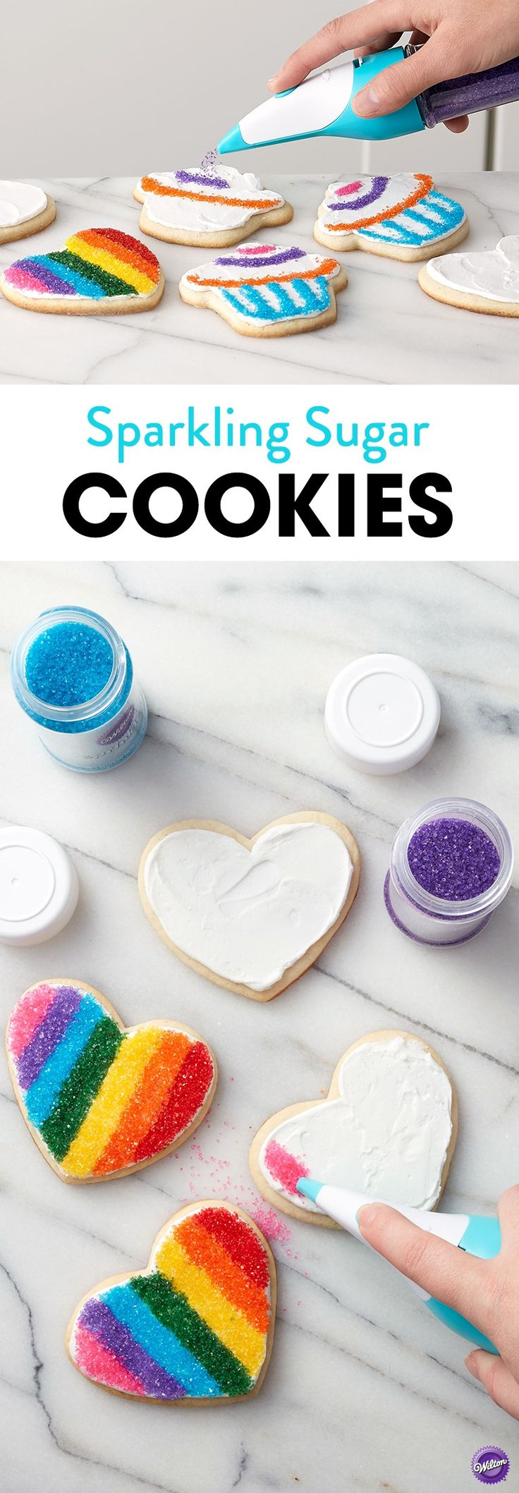 Great for birthday parties or edible party favors, these Sparkling Sugar Cookies are just as fun to make as they are to eat! Use the Sugar Writer Sanding Sugar Pen and our wide assortment of Sanding Sugar sprinkles to add your own fun details to these frosted cookies. A fun project you can do with the whole family, these Sparkling Sugar Cookies will take cookie decorating to a whole new level!