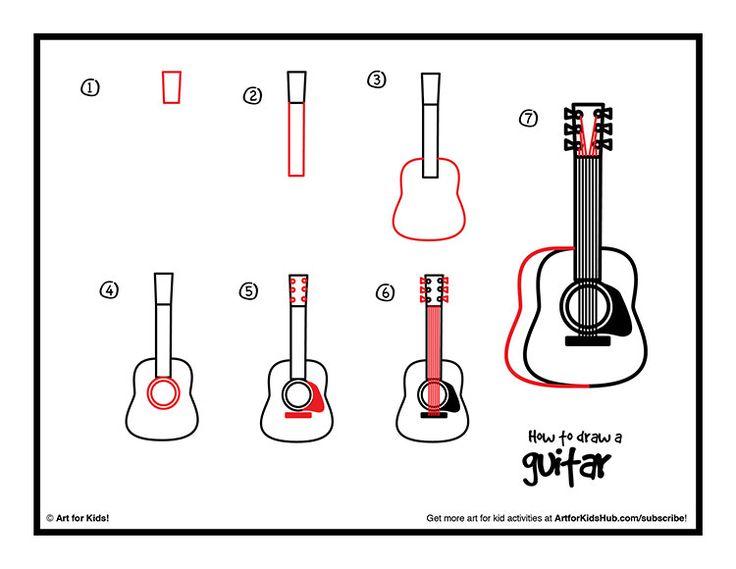 14 best musical instrument art images on pinterest elementary art art classroom and paint - Comment dessiner une guitare ...