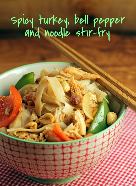Spice up your leftover turkey with this Spicy turkey, bell pepper and noodle stir-fry [ThePerfectPantry.com]