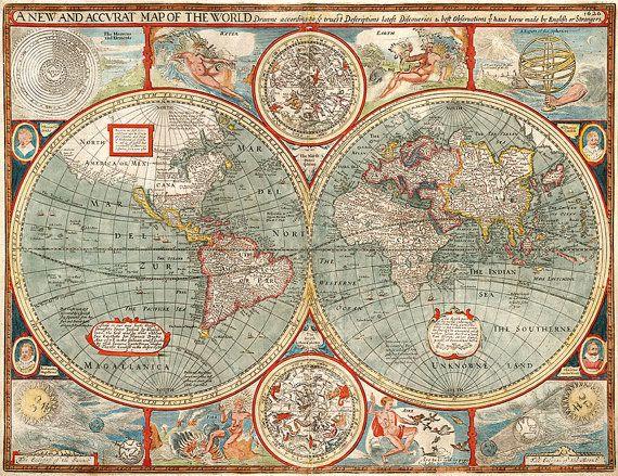 Karte der Welt im Jahre 1626 von John Speed.  Jahrgang Wiederherstellung Hardware Hause Deco-Stil alte Wand Reproduktion Karte Drucken.