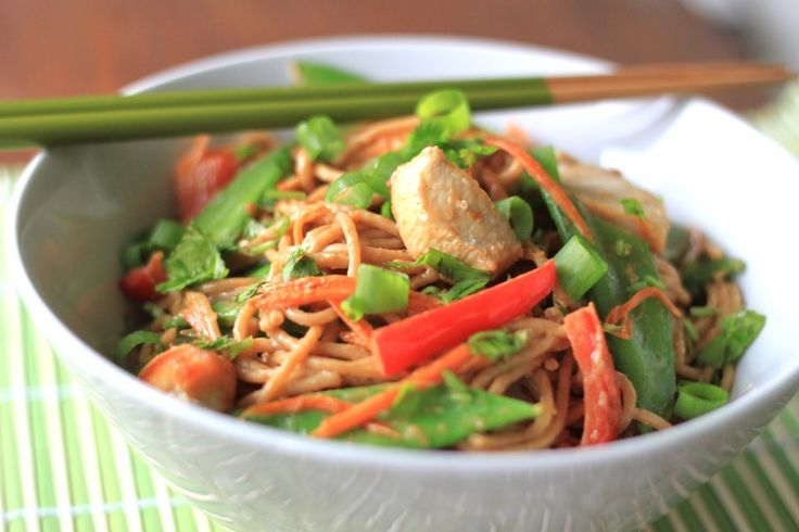 thai coconut peanut noodles - delicious, but I actually made the sauce and served with chicken, stir-fry veggies and brown rice. LOVED it.