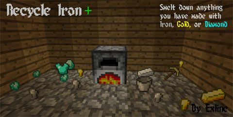Recycle Iron Mod for Minecarft 1.10.2 allows you to smelt crafted items back into the iron or gold resources used