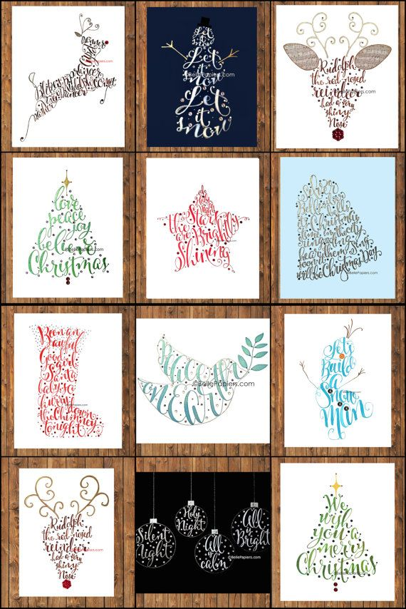 Christmas Calligraphy Decoration Typography Illustration Calligraphy by BellePapiers
