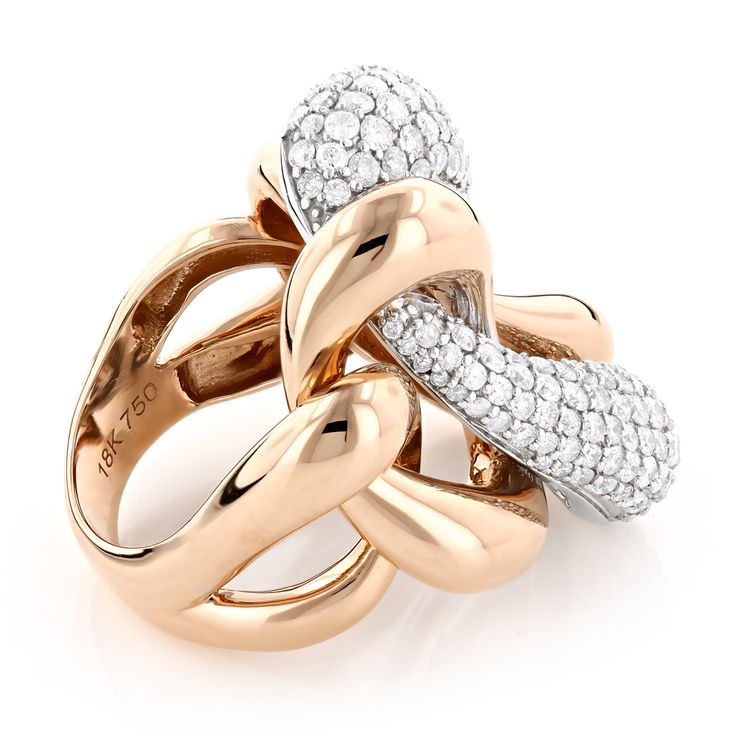 Diamond Cocktail Rings: Two Tone Designer Diamond Ring 5.6ct 18K Gold