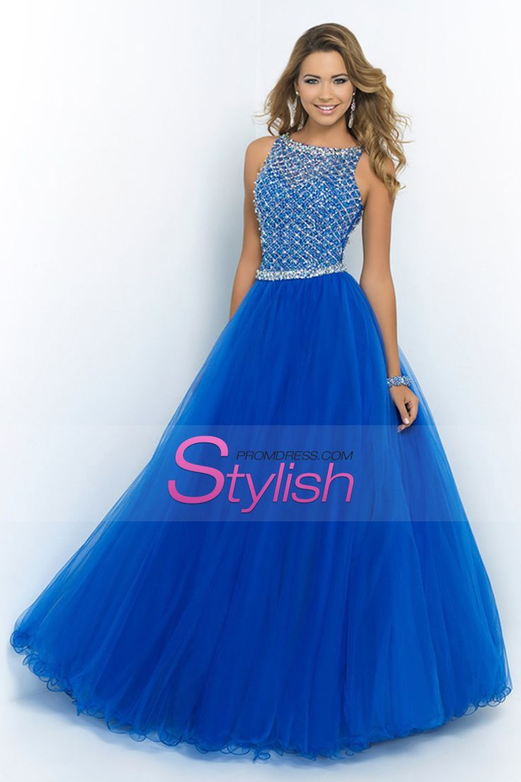 2015 Hot Selling Bateau Beaded Bodice A Line/Princess Prom Dresses Pick Up Long Tulle Skirt