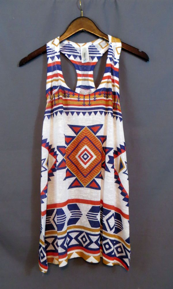 COWGIRL gYPSY AZTEC Tribal Native Tank Top Tunic Boho knit Western SMALL NWOT #brendas #TANK