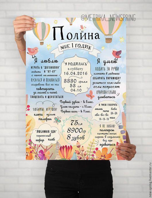"""Детская ручной работы. Ярмарка Мастеров - ручная работа. Купить Постер достижений """"Весенний"""" на годик для девочки. Handmade. Метрика"""