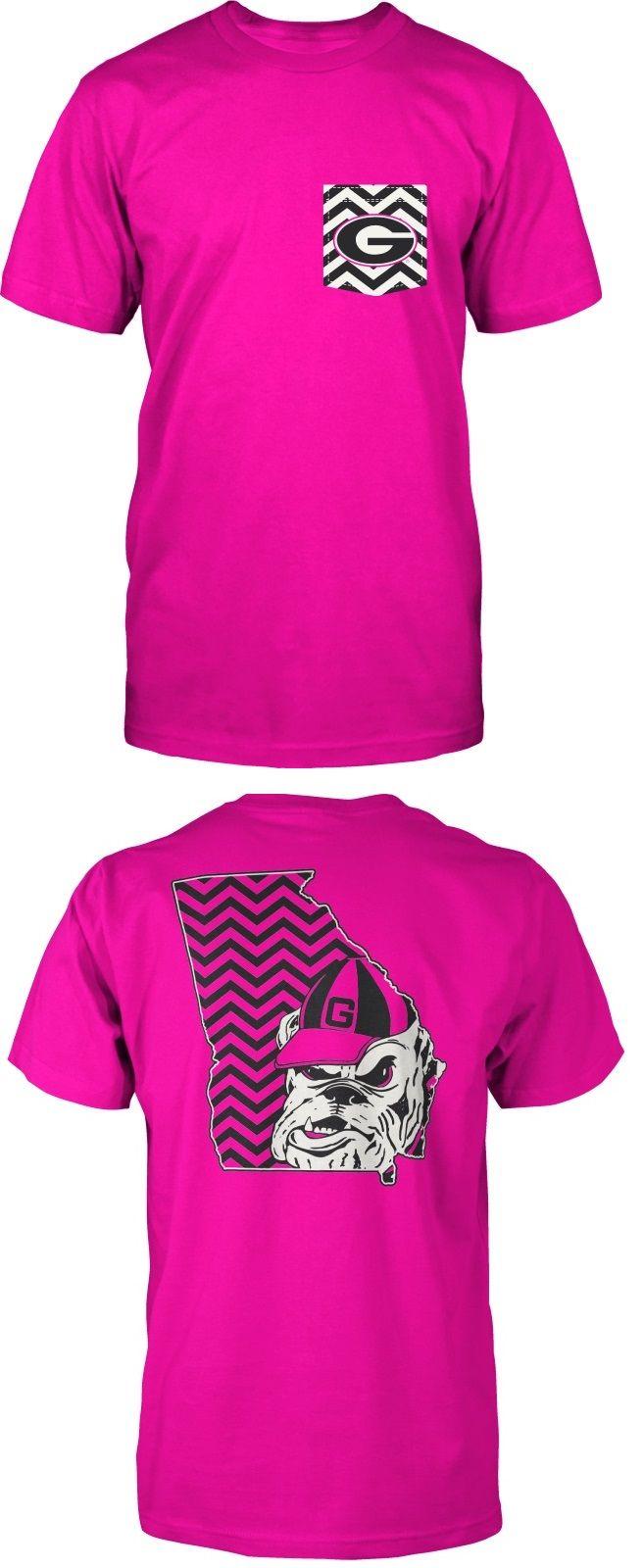 Neon Pink Georgia Bulldogs Chevron T-Shirt. So cute! // the chevron pocket looks weird but the back is cute