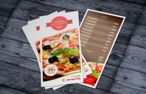 wzór szablon ulotka pizzeria menu