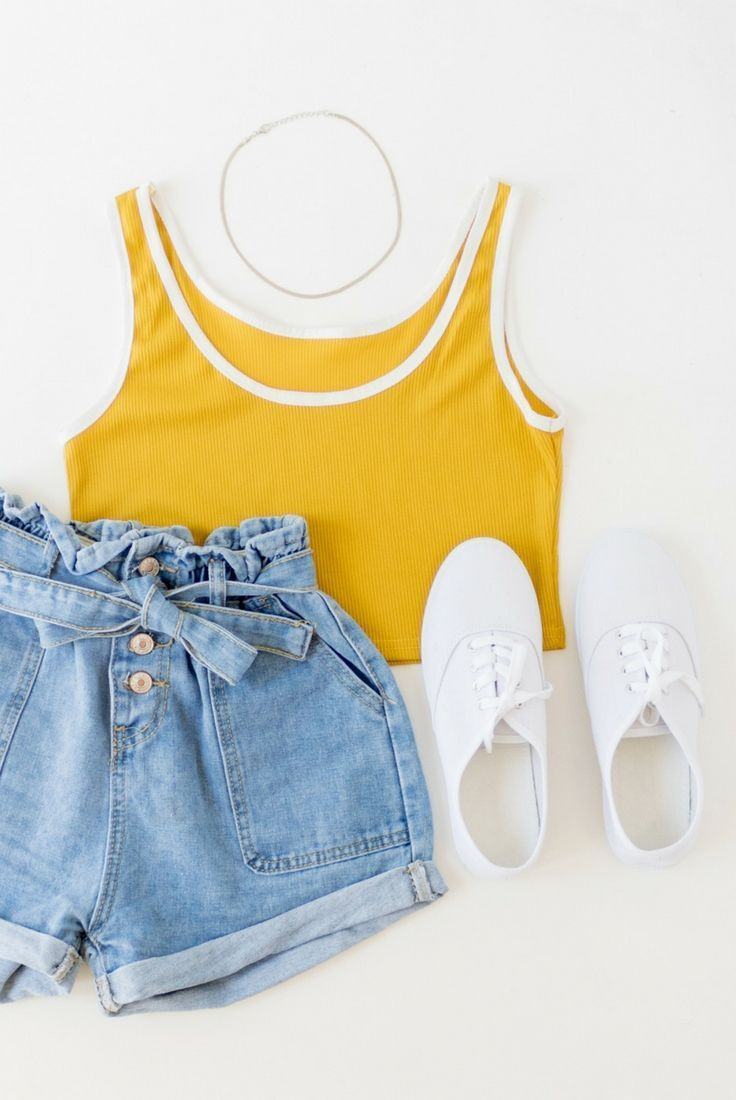 Mustard yellow, ringer tank top, crop top, white trim, high waist vintage denim ... 9
