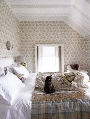 cottage: Guest Room, Decor, Kitty Cats, Sweet, Newlywed Diaries, Wallpaper, House, Cottage Bedrooms, Black Cat