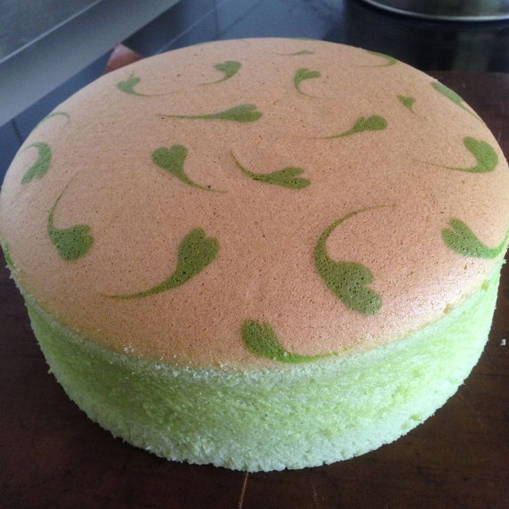 Pandan Ogura Cake. 75g sugar, bake 5-10mins longer, use real pandan juice + pandan paste