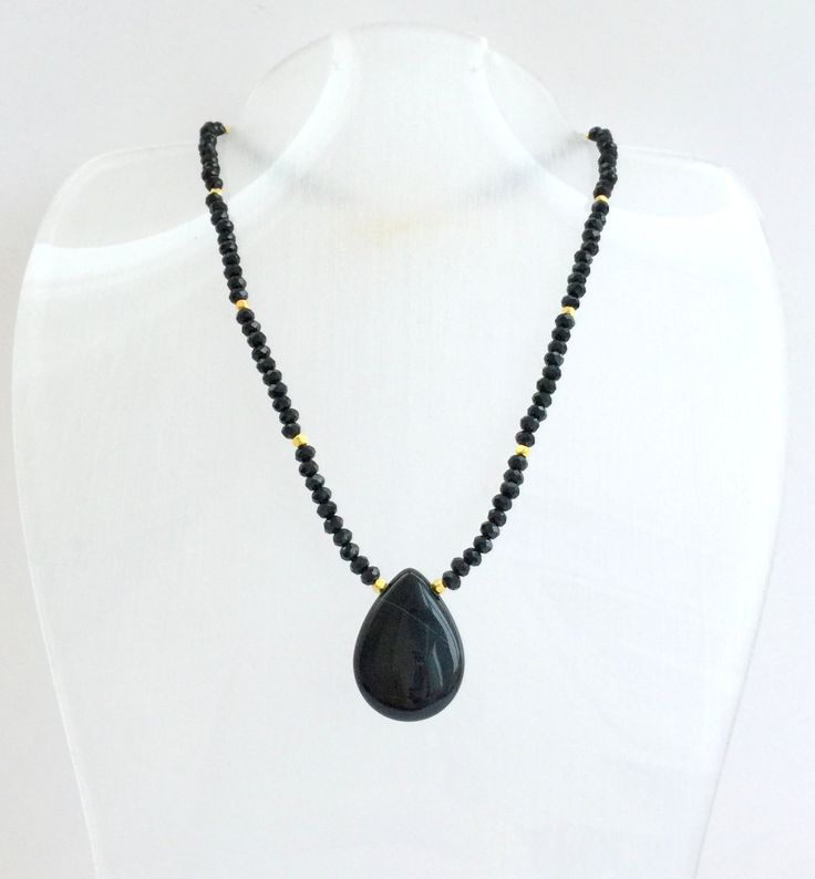 Black Agate Necklace,Agate Necklace,Gold Necklace,Drop Agate Necklace,Healing Necklace,Gold Plated Necklace,Black Necklace,Gold Necklace by GFMODE on Etsy
