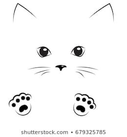 Vector Black Outline Drawing Cute Cat Face With Paws Cat Face Drawing Cat Outline Outline Drawings