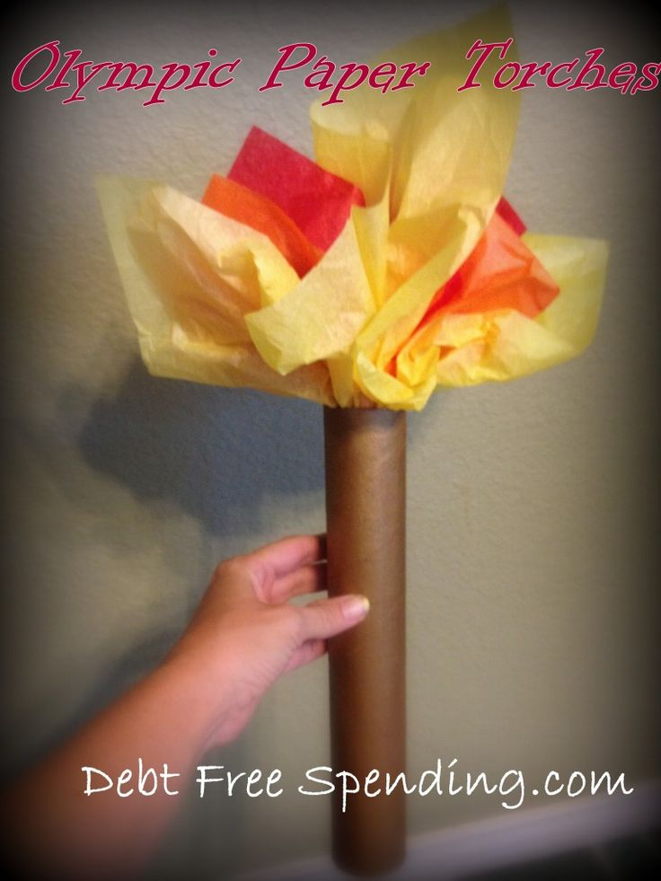 Have your own Olympic Torch celebration at home the next time with this cute DIY torch for kids!-->http://www.debtfreespending.com/olympic-crafts-kid/