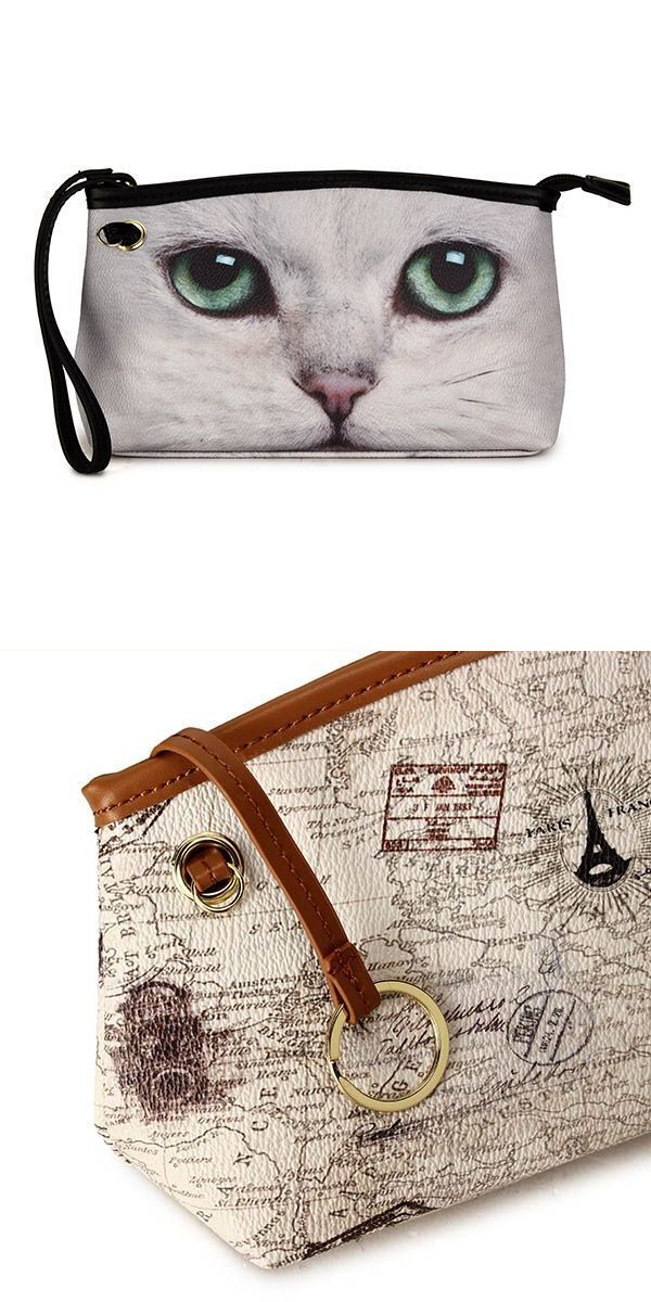 Women Cat Long Wallet Eiffel Tower Micro Fibric Leather Clutches Purse Card Holder Comestic Bags