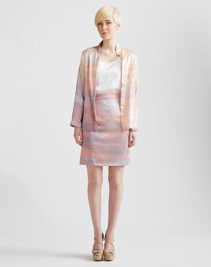 Silk Blouse with White Cami & Stretch Silk Pencil Skirt www.jenkinsandjane.com.au
