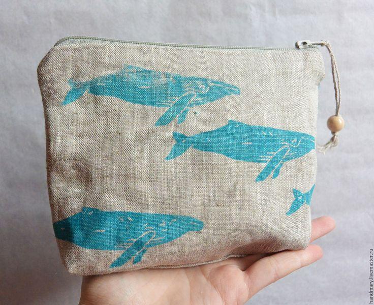 Купить Косметичка со стаей китов - морская волна, рисунок, кит, киты, стая