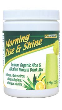 This highly-absorbable mineral-enhanced, all- natural lemon & aloe drink gently balances internal body pH and promotes an alkaline environment. Keeping the body's pH in balance helps to create the optimal internal environment for overall good health. Daily use of Morning Rise & Shine™ detoxifies and rejuvenates cells and organs. Cleanses * Energizes. 100% VEGAN. Gluten-free.  www.prairienaturals.ca