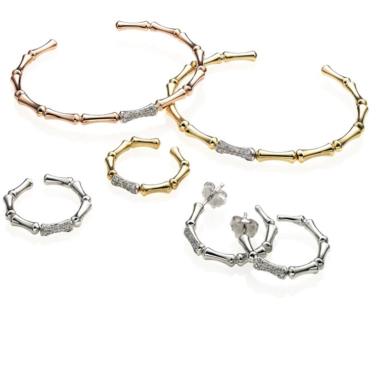 CHIMENTO Bamboo Regular yellow and white gold bracelets, rings and earrings.