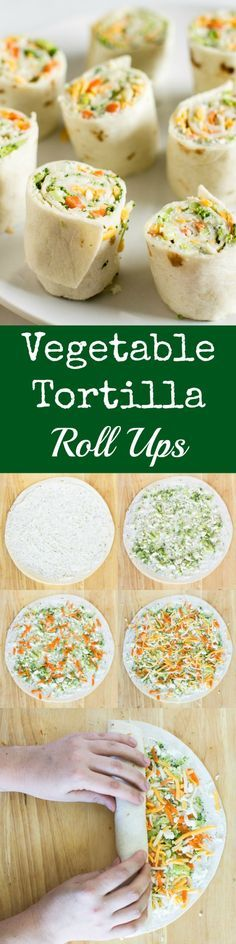 Vegetable Tortilla Roll Ups with cream cheese filling spread on tortillas, topped with veggies and cheese. Slice and serve. Just like veggie pizza!
