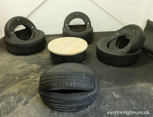The upcycled tyre seating area is great for break times and role play