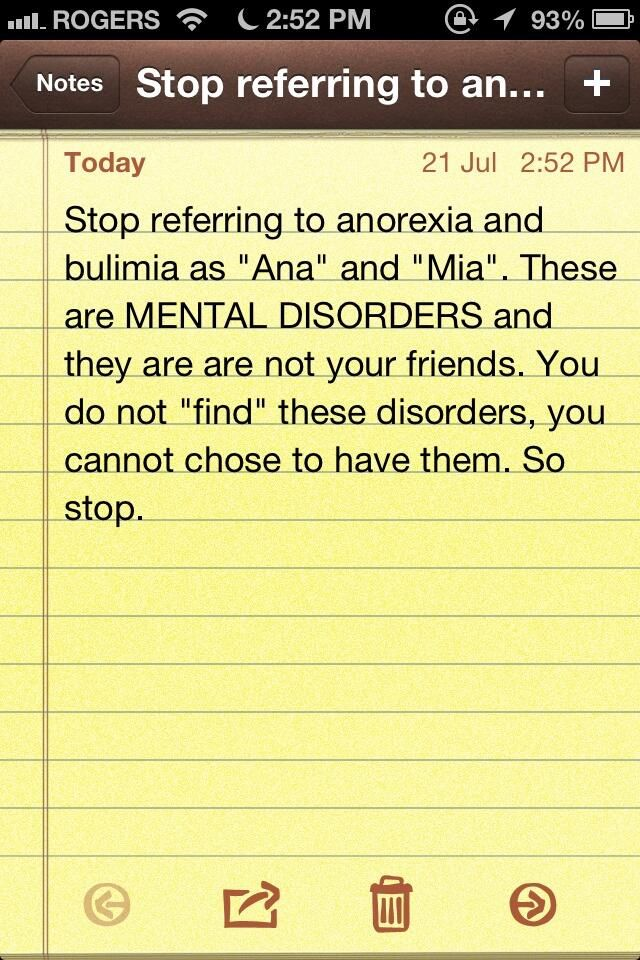 Stop giving serious illnesses like Anorexia and Bulimia stupid ...