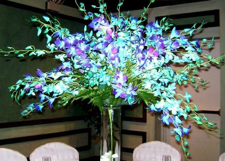 All blue dendrobium orchids centerpiece wedding