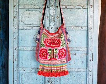 Tribus Hmong bandolera bordado de la mano borlas flores lindo Frilly correa moda étnica