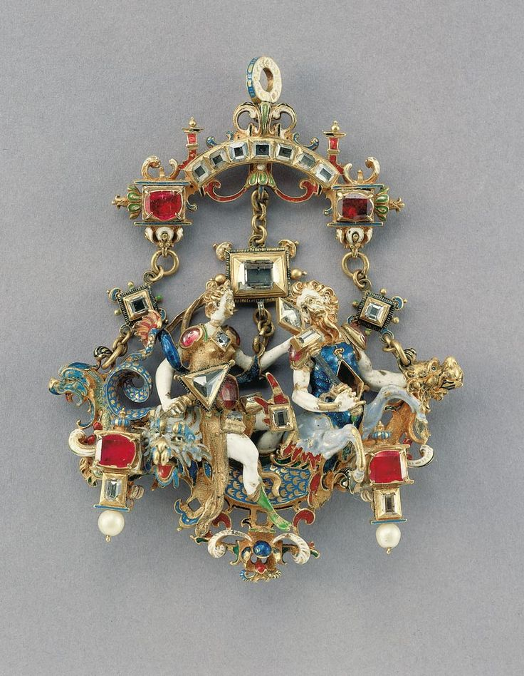 Pendant - with mythological figures (triumph of Venus Marina?). Date: ca. 1600 (presumably). Place of production: Prague. Materials: gold; diamond; pearl; ruby. Techniques: champlevé enamel; ronde bosse enamel.  | Museum of Applied Arts, Budapest, ˆ 2015ˆˆ