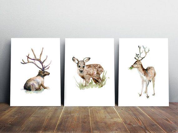 Set van drie herten in het gras   hert Aquarel door Zendrawing