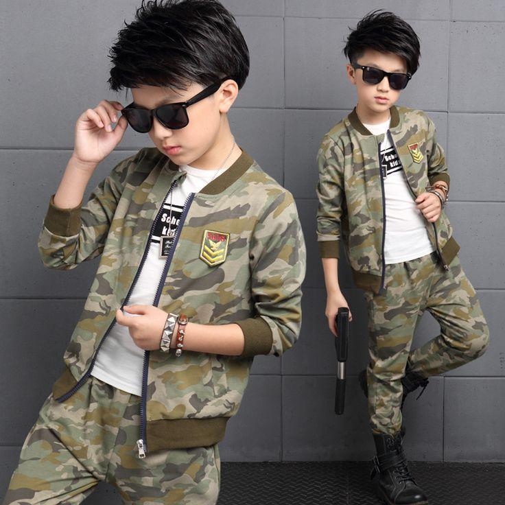 Boys children clothing set autumn teenage boys sport suit coats pants 2pcs…