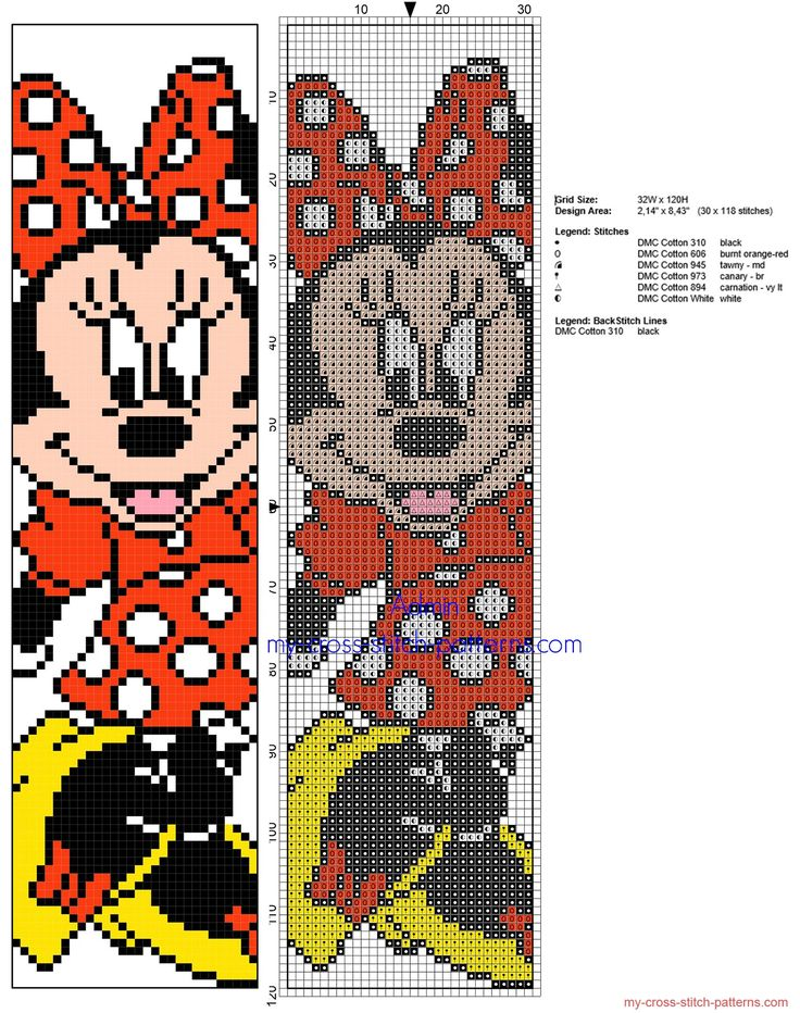 Cross stitch children bookmark with Disney Minnie Mouse