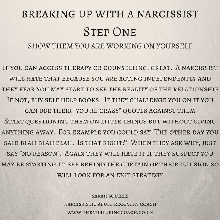 Narcissists hate to be discarded themselves so it's important you get them to break up with you.  That way, unless you have children together, you have more chance of freedom. #narcissist #narcissisticabuse