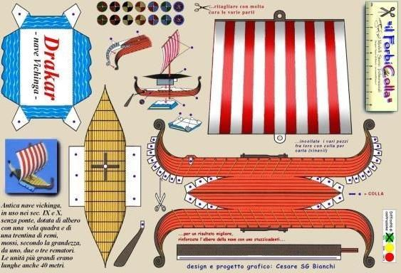 Viking Ship Paper Model - by Forbicolla - Barco Viking        By Italian designer Cesare Bianchi, from Forbicolla website, here is a nice and easy-to-build Viking Ship paper model.