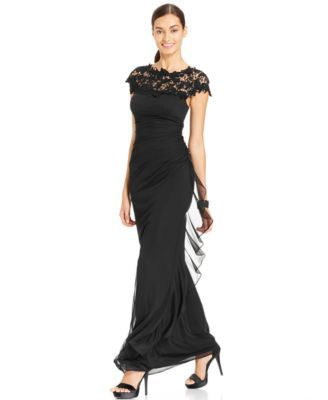Betsy & Adam Lace Ruched Gown-$189.00