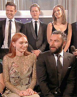 Poldark cast having a laugh at the BAFTAs.